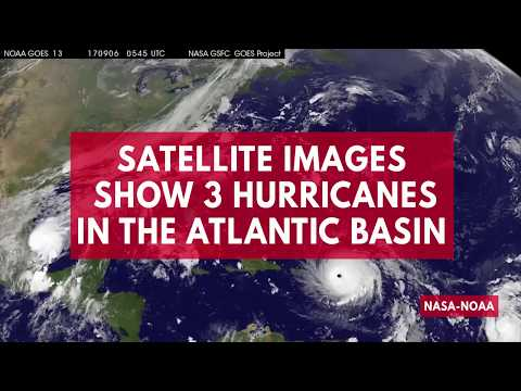 Satellite imagery shows three hurricanes churning in the Atlantic basin