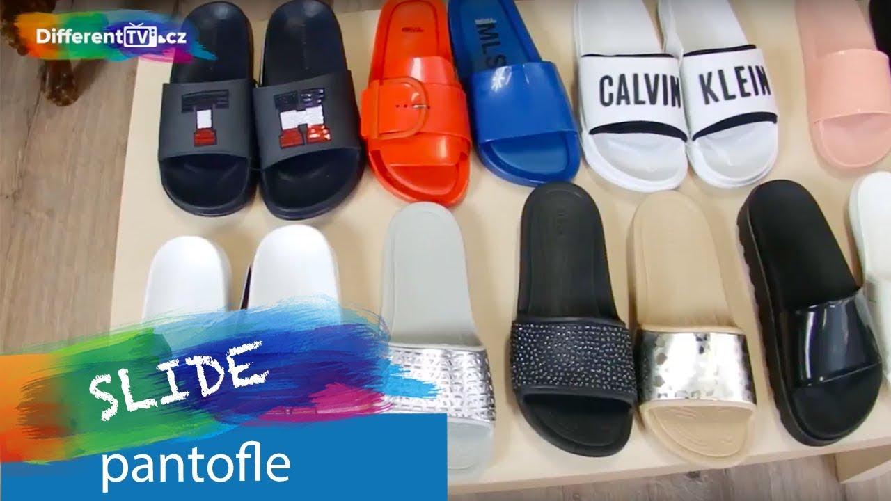 49e4915411 Tommy Hilfiger tmavě modré kožené pantofle Sequins Sparkle Pool Slide  Midnight - Dámské Boty • Different.cz