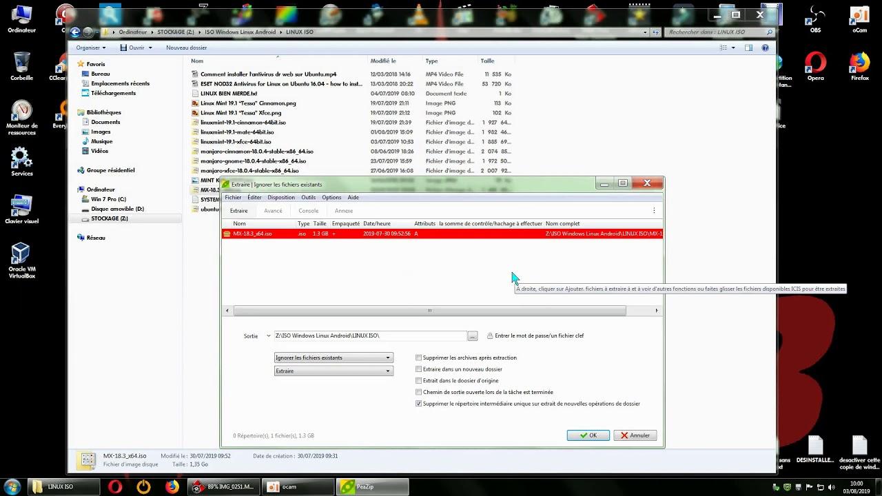 PeaZip VS 7Zip extraction  iso vers USB / FR