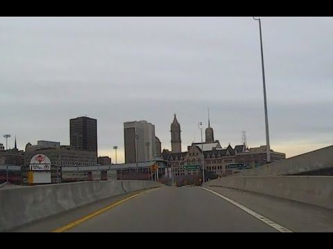 Driving Through Downtown Buffalo, New York USA