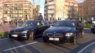 Huge Rev Battle! Mercedes C63 VS M6 E63 in Knokke