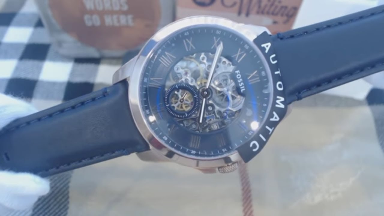 Mens Fossil Grant Automatic Movement Blue Strap Watch Me3054 Youtube Me3138 Sport Skeleton Dial Black Leather