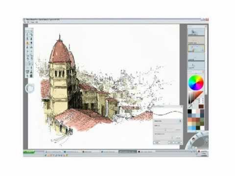 Architectural Sketch On Sketchbook Pro Youtube