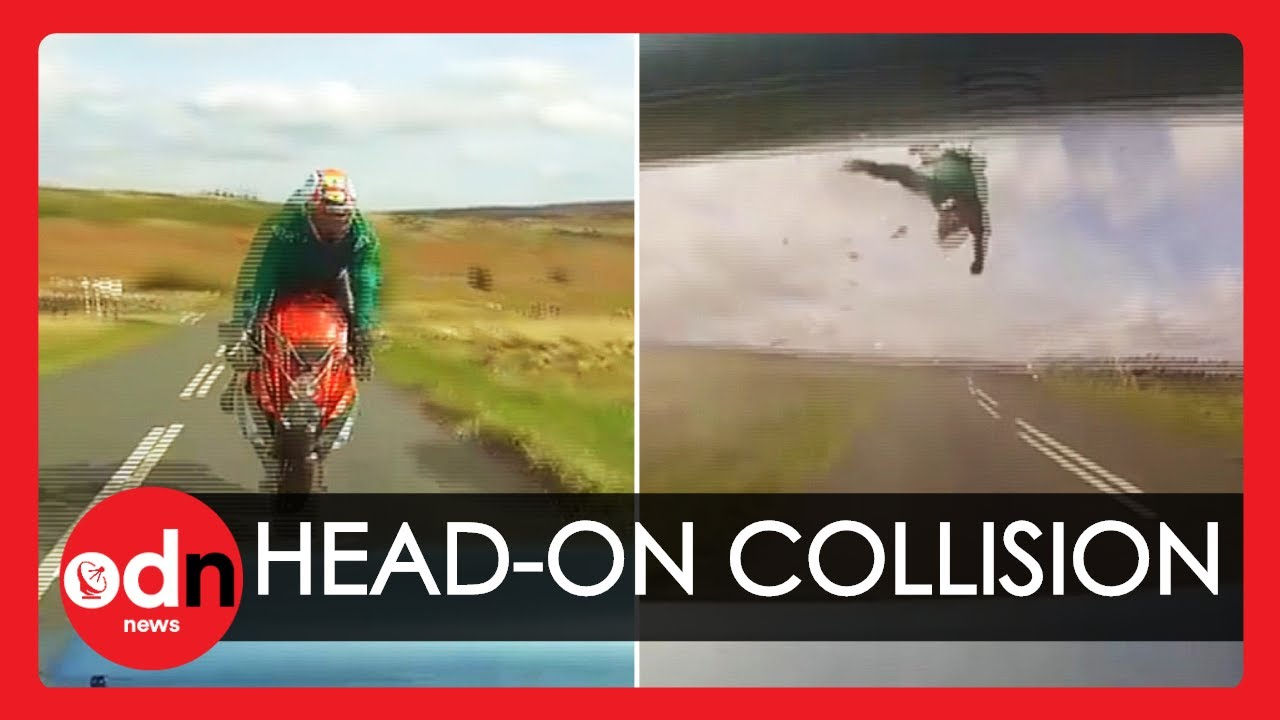 Horrific Footage Shows Head-On Motorbike Crash with Car