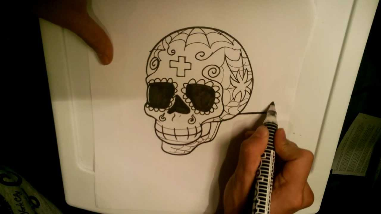 How To Draw A Sugar Skull Skull Drawings Youtube