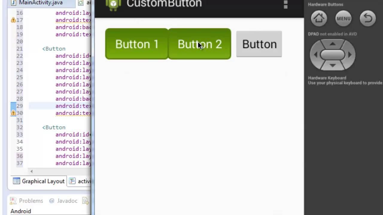 Custom Button Design In Android Studio