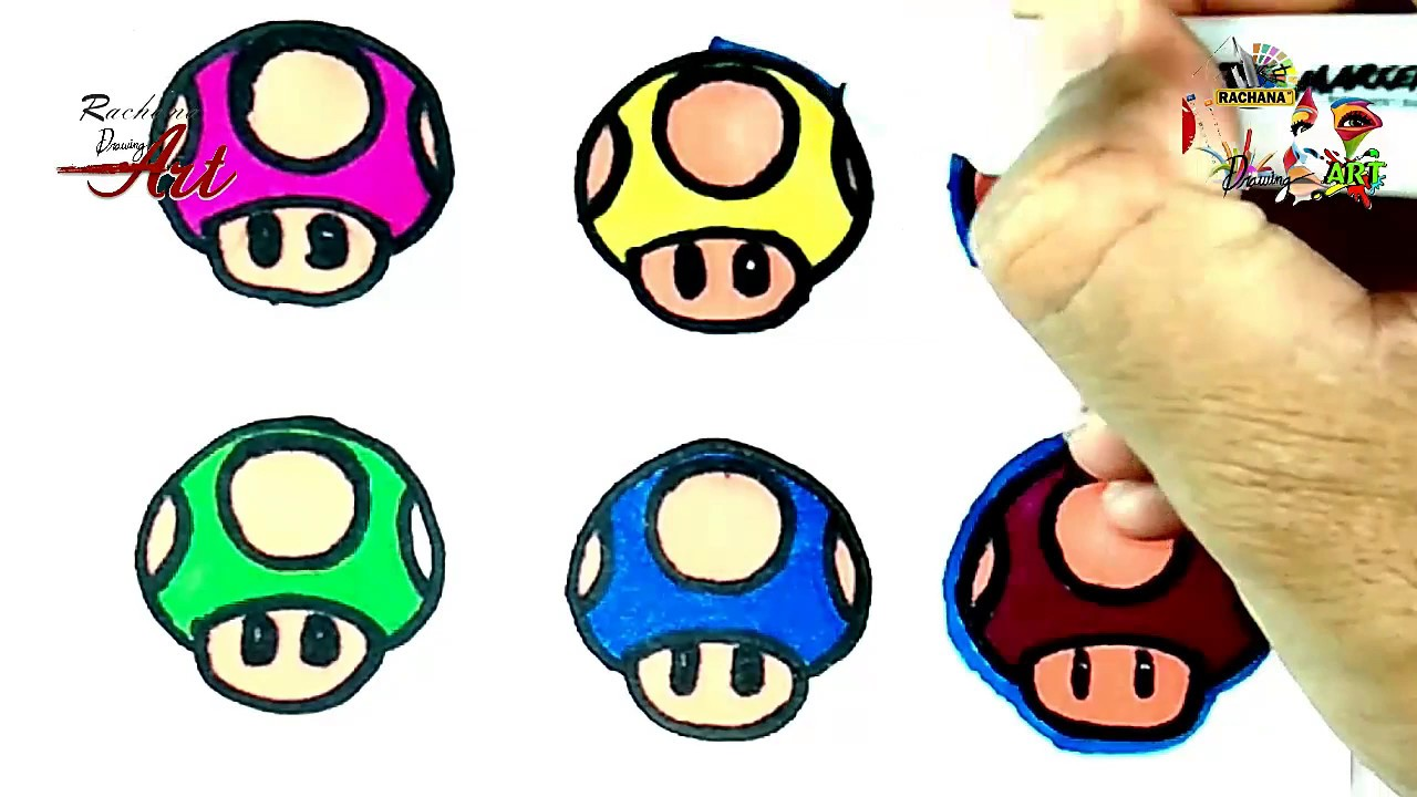 How To Draw Mario Cartoon Mushrooms For Toddlers Learn