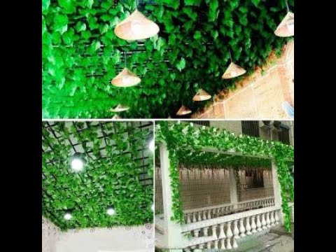 dekorasi rumah kantor toko cafe dengan daun rambat plastik