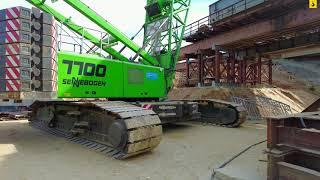 Строительство 8 этапа трассы Таврида. Путепровод через ЖД и Полезное шоссе. 300-тонный кран.