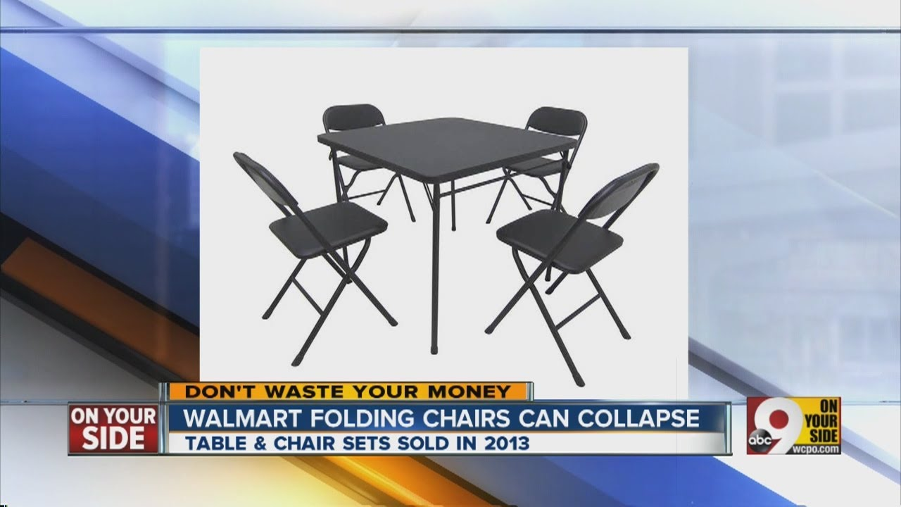 WalMart recall: Card table and chairs - YouTube