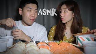 아기가 잠든사이 아내와 몰래 광어랑 연어초밥 ASMR …