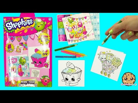 Make Your Own Shopkins Cards Color + Sticker Craft Kit - Cookieswirlc Video
