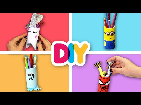 4 FUN Paper Roll Crafts you can do with your kid | Fast-n-Easy | DIY Arts & Crafts for Kids