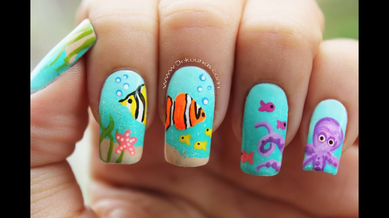 Decoraci n de u as playa under the sea nails youtube for Como hacer decoracion de unas