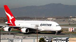 Video Qantas Airbus A380 (2X) Landing and Takeoff at LAX download MP3, 3GP, MP4, WEBM, AVI, FLV Agustus 2018