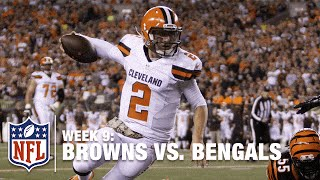 Johnny Football Can Fly! Check Out His Sideline Self-Celebration | Browns vs. Bengals (Week 9) | NFL
