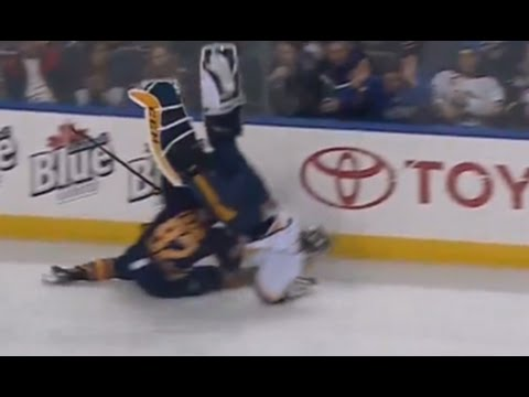 Carter Hutton Sent Flying After Big Collision with Foligno