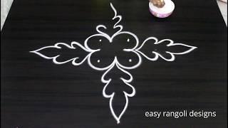 Beginners flower kolam - easy rangoli designs - small muggulu patterns
