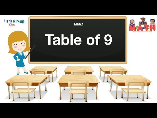 Table of 9 || Learn Multiplication || 9x1=9|| Preschool Maths || Learn Tables for kids ||Learn Maths