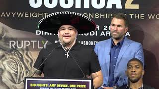 USA: AJ and Ruiz promote 'Clash on the Dunes' in NYC