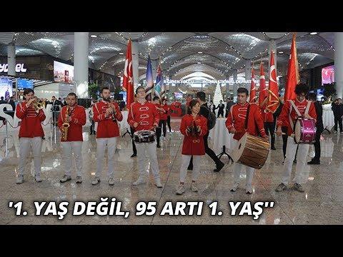 İstanbul Havalimanı'nda çifte coşku... ''1. yaş değil, 95 artı 1. ya
