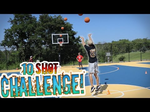 THIS WAS SO FUNNY!! - REAL LIFE 10 SHOT CHALLENGE!! 1v1v1v1 IRL Backetball Challenge