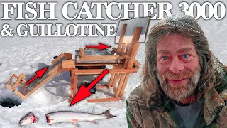 Automatic Trout Catcher with a Guillotine Catch Cook Ice Fishing Fish to Pan Challenge