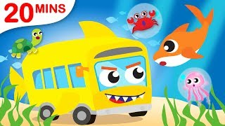 Baby Shark on the Shark Bus | Itsy Bitsy Did You See My Web? | Puppy Chase by Little Angel