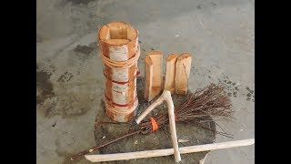 Wooden Cup, Birch Twig Brush and a Coat Hanger -12 Week Bushcraft Challenge - Week 5