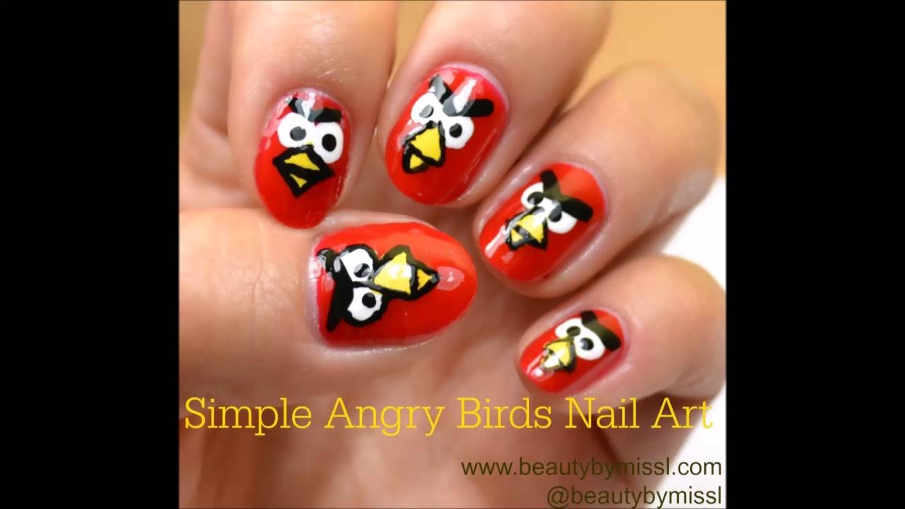 Simple Angry Birds nail art - YouTube