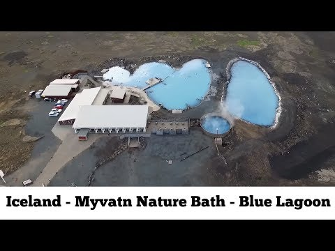 Myvatn Nature Bath - Blue Lagoon of the north  Iceland - drone aerial movie