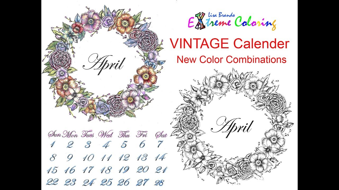April Calendar Coloring Page With Combination Chart Color By Numbers ...