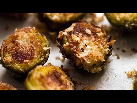 The Most Amazing CRISPY Parmesan Roasted Brussels Sprouts!