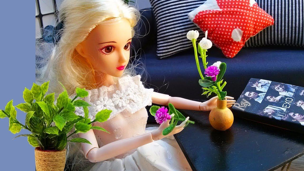 Hướng dẫn làm các loại chậu, bình, lọ hoa mini trang trí phòng cho Búp bê Barbie