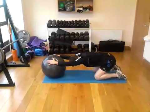 Stretch - Lats, using gym ball