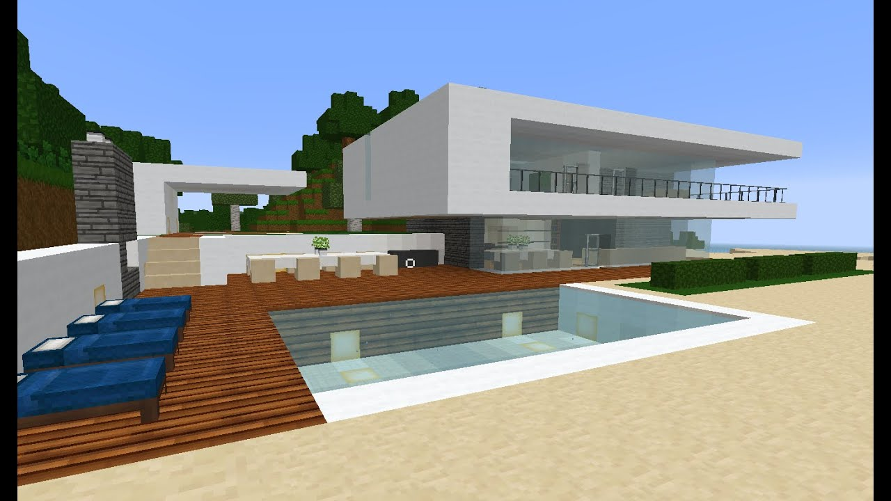 Minecraft modern simple beach ocean weekend house estate for Building an estate
