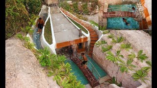 Build Most Underground Mansion & Fantastic Waterfall Water Slide & Swimming Pool [FULL VIDEO