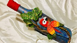 Bottle art/Bottle art with parrot decoration