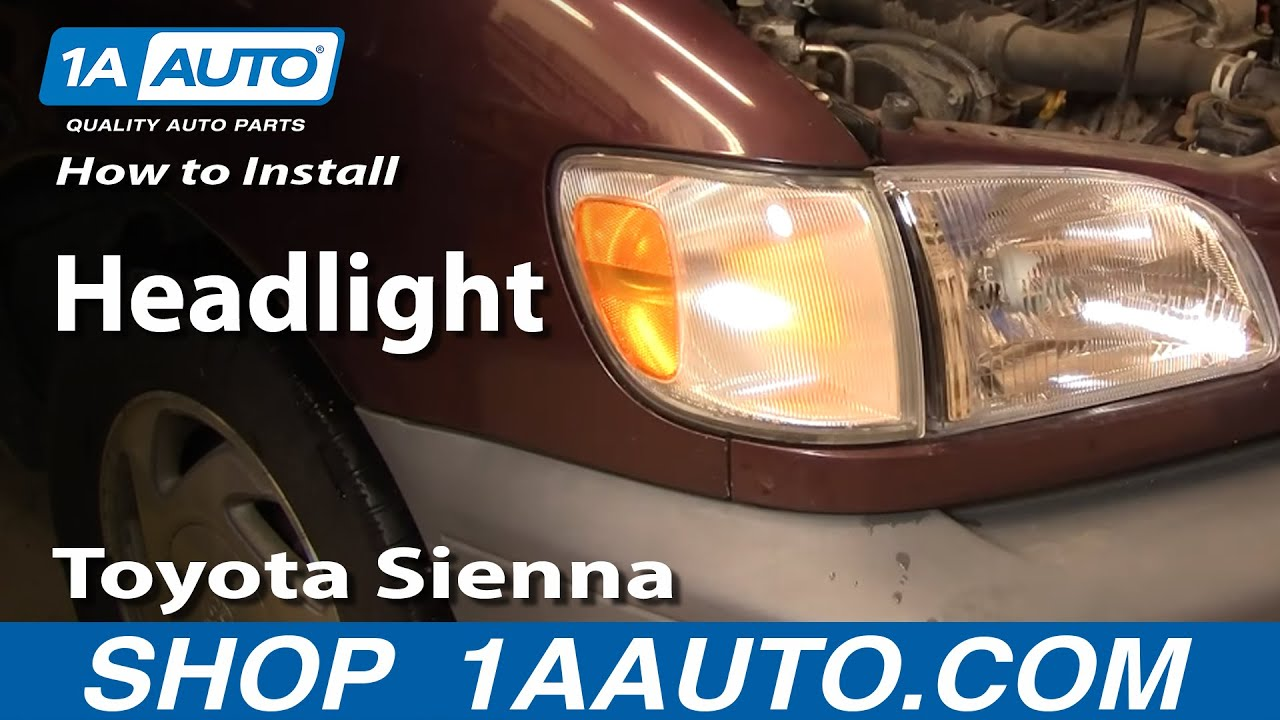how to install replace headlight toyota sienna 98 03 1aauto com [ 1280 x 720 Pixel ]