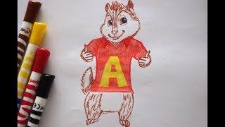 Alvin zeichnen - how to draw Alvin from the Chipmunks - как нарисовать Элвин и бурундуки
