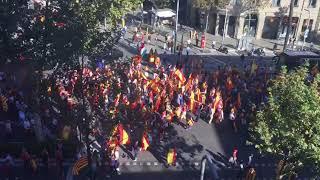 Centenares de manifestantes unionistas cortan la Diagonal de Barcelona