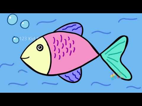 Colouring Page For Kids /How To Draw Fish For Kids