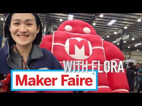 Explore Maker Faire with Flora! Paper skeleton/truck transmission/garage telescope/pvc sculpture