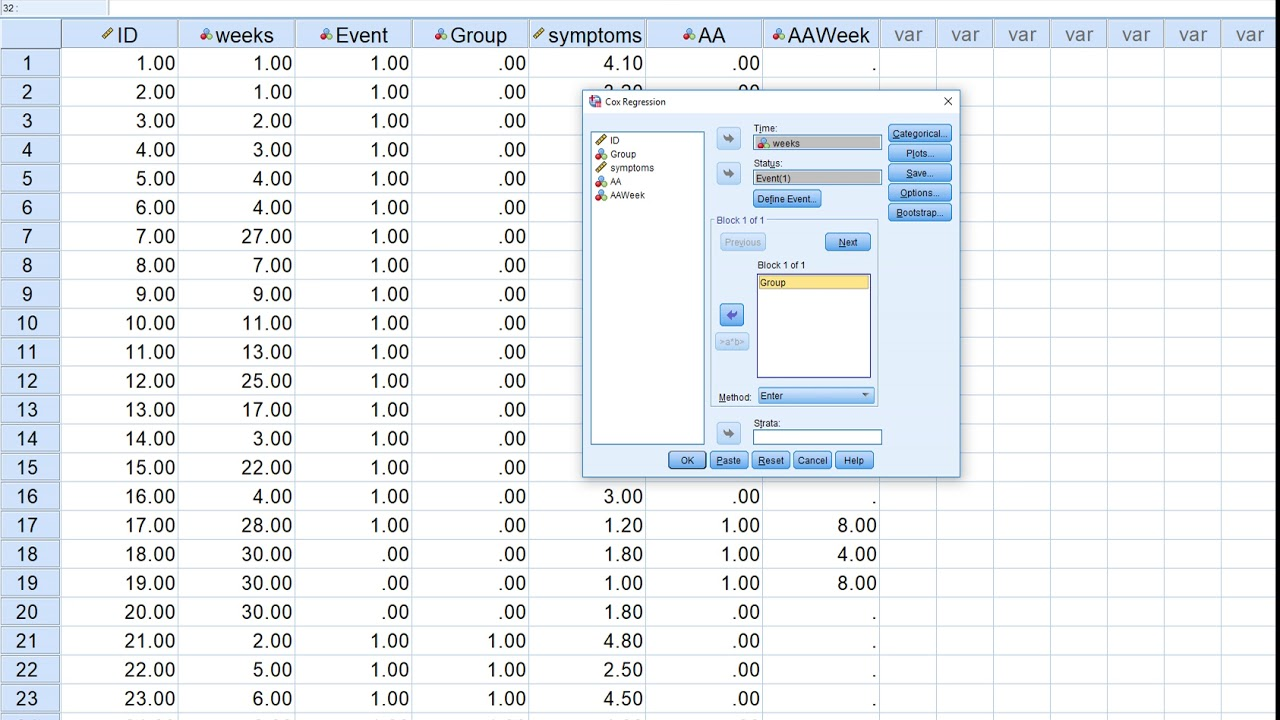 Survival analysis in SPSS using Cox regression (v2)