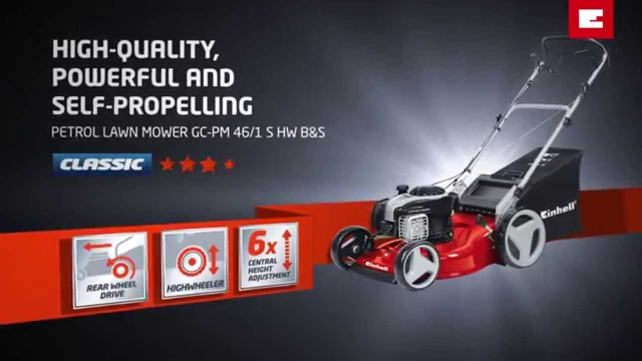 einhell gc-pm 46/1 s hw b&s petrol lawn mower - youtube