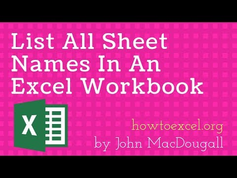 How To Generate A List Of Sheet Names From A Workbook