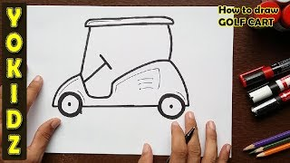 How to draw a GOLF CART