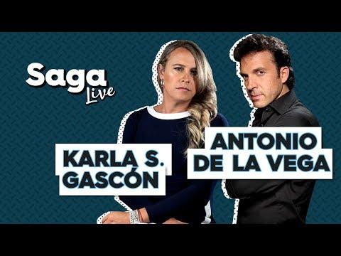 #SagaLive Karla Sofía Gascón y Antonio de la Vega con Adela Micha.