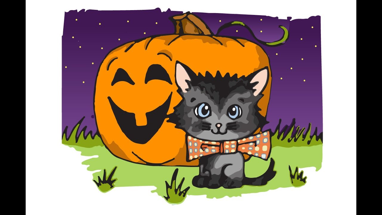 How to Draw a Halloween Cat - Speed Drawing - YouTube