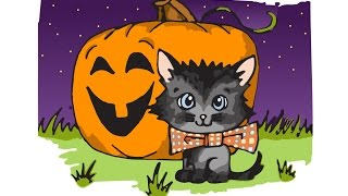 How to Draw a Halloween Cat - Speed Drawing